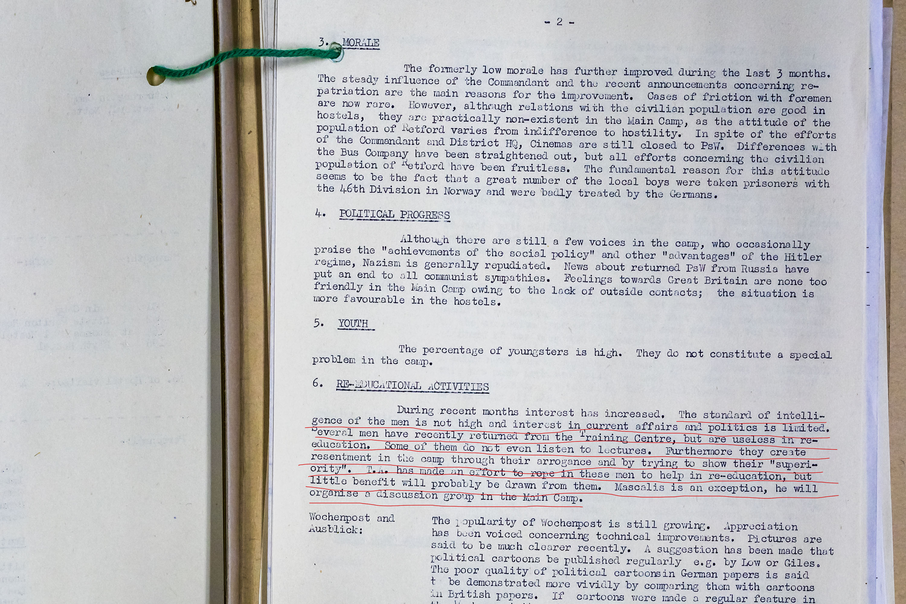 Camp 52 - Foreign Office Inspection Report, Praising Staff, BUT disparigining to PoWs
